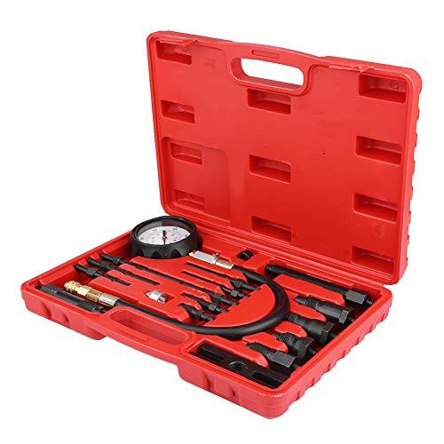 17 Stücke Kompressionstest Kit, Auto Traktor Diesel Dieselmotor Kompressionstester Kit Diagnose Test Kompression Gaguges Werkzeug mit Roten Fall