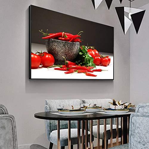 ZMFBHFBH Tomates y pimientos Arte de la Pared Impresiones en Lienzo Carteles e Impresiones de Pared de Cocina realistas Imágenes modulares para la Cocina 40x50cm con Marco