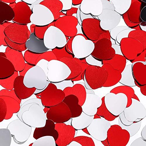 Leinuosen 1000 Pieces Mini Heart Confetti Valentine's Confetti, 0.4 Inch Metallic Foil Red Heart Shaped Table Confetti for Valentine's Day Wedding Party Decoration