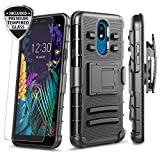 LG Aristo 4 Plus Case, LG Escape Plus Case, Arena 2 /K30 2019 /Prime 2 Case with [Tempered Glass Screen Protector], Townshop Belt Clip Holster Kickstand Heavy Duty Shockproof Case - Black