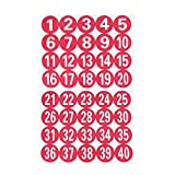 STOBOK 40pcs etiquetas redondas de números 1-40 etiquetas adhesivas de números pegatinas adhesivas rojas etiquetas de número de serie etiquetas de almacenamiento de inventario de marcador decorativo
