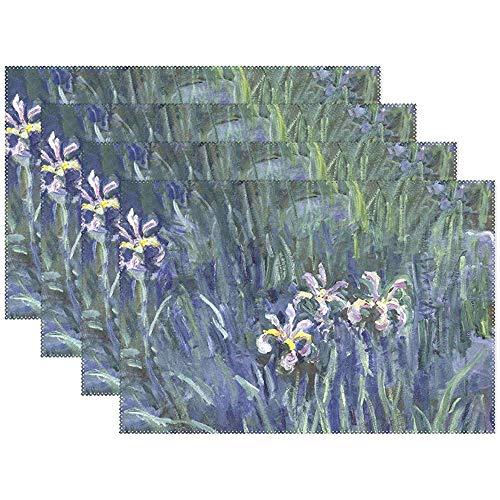 Set de table Set de 6, Iris Monet Art Peinture à l'huile de vacances antidérapant Polyester résistant à la chaleur Table napperons pour table à manger de cuisine, 45X30Cm