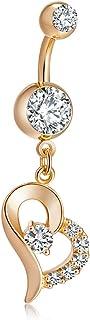 YAZILIND Oro Plateado Cuerpo Barras Piercing Color Cubic Zirconia Medico Acero Inoxidable Amor Ombligo Anillo de Clavo Omb...