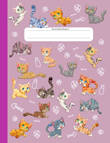 Cats Composition Notebook: 8.5x11in | Dotted Midline | Grades K-2 | 100 Pages (Composition Notebooks for Kids Grades K–2)