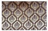 Russo Tessuti Tessuto Tappezzeria Velluto Cinigliato a Coste Medaglione Marrone Oro 50x280 cm