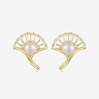 zlw-shop Dangle Earrings 925 Sterling Silver Freshwater Pearl Stud Earrings with Cubic Zirconia Ginkgo Leaf Shape 5mm for ...