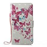 Prechkle Phcases Handyhülle für iPhone XR Hülle Brieftasche Klapphülle mit Standfunktion Kartenfach und Magnetverschluss 3D Effekt Design Tasche aus PU Leder Silikon Schutzhülle Katzen-Schmetterling. -