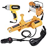 Electric Car Floor Jack, 3 Ton 12V Automotive Tire Scissor Lifting Jack Vehicle Wheel Repair Tool Kit with Electric Impact Wrench for SUV Truck Sedan Tire Change & Replacement and Road Emergencies