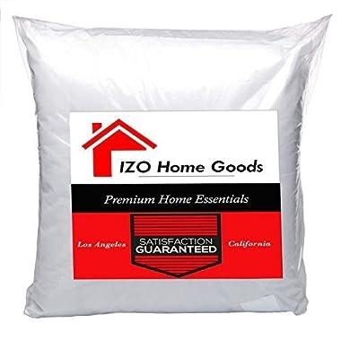 IZO Home Goods Premium Hypoallergenic Stuffer Pillow Insert Sham Square Form Polyester, 16  L X 16  W, Standard/White