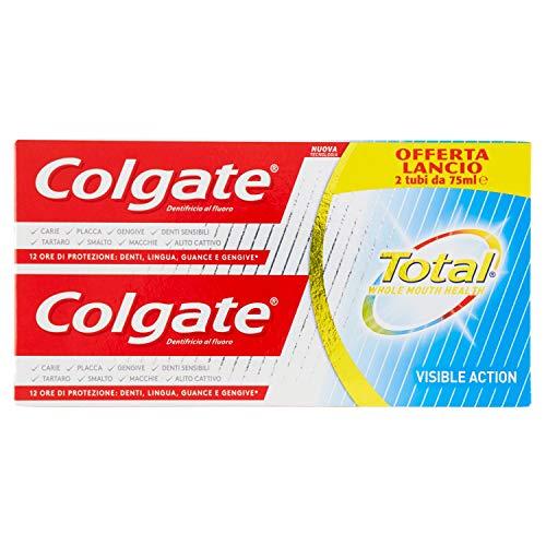 Dentifricio Colgate Total Visible Action, con tecnologia cambia-colore: protezione su denti lingua guance e gengive, maxi formato, 6 Tubi da 75 ml