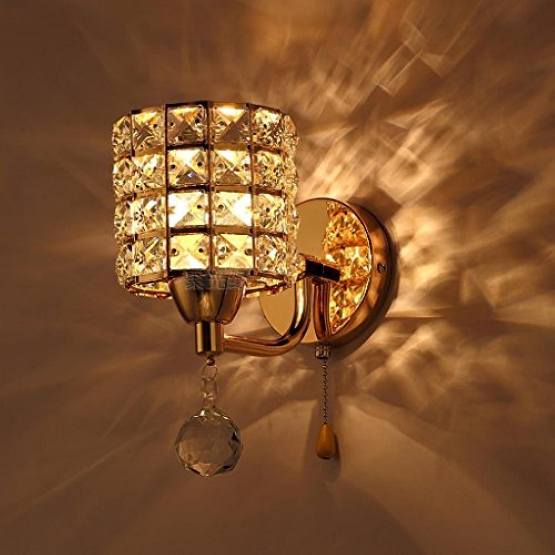 DNSJB Schlafzimmer Kopfteil Wandleuchte Korridor Innenbeleuchtung einfache Gold Kristall Wandleuchte