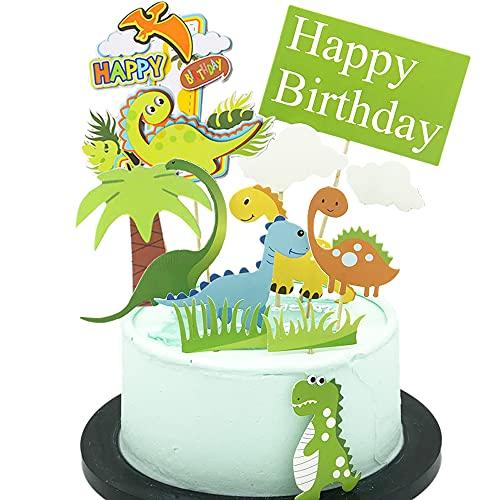ENYACOS 10 Stück Dinosaurier Kuchen Topper,Happy Birthday Tortendeko,Cake Topper ,Dino Tortendeko Geburtstag Junge ,Dinosaurier Geburtstag deko,Kuchendeko Geburtstag Für Kinder Junge Mädchen