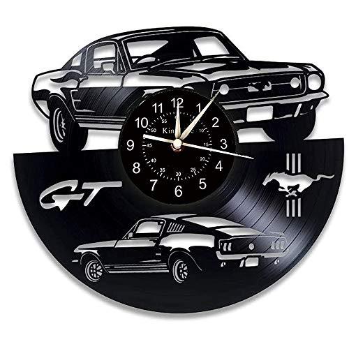 Smotly Vinyl Wanduhr, Ford Mustang Thema Rekord Wanduhr, handgemachte Kunstdekoration zu Hause Wanduhr kreative Geschenke.