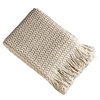 Brielle Winding Wave Throw, Ivory