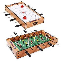 GOPLUS 2-In-1 Tischkicker, Mobiles Tischhockey- und Tischfußballspiel, Multifunktionstisch Mini Spieltisch Kickertisch, für Indoor und Outdoor, Geschenk für Kinder Jegendliche und Erwachsene