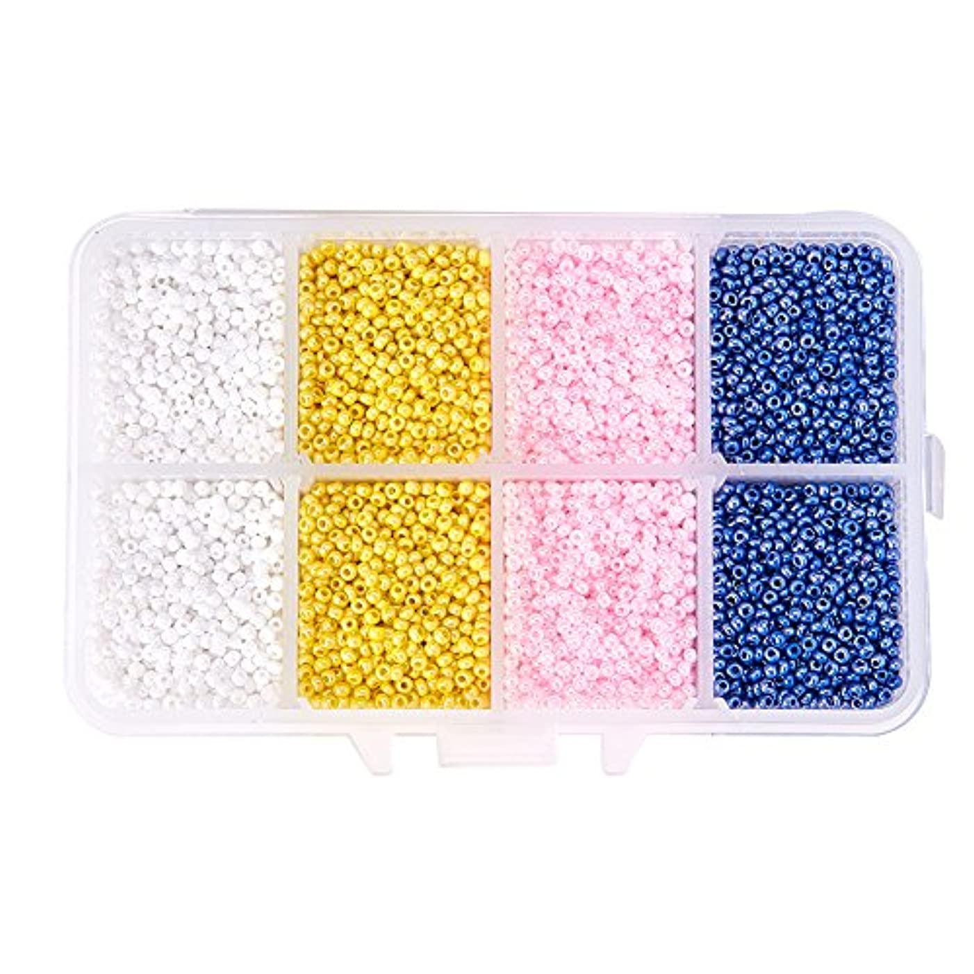 PandaHall Elite About 19000 Pcs 11/0 Glass Seed Beads Lined Pony Bead Tiny Spacer Beads Diameter 2mm with Container Box 4 Colors for Jewelry Making