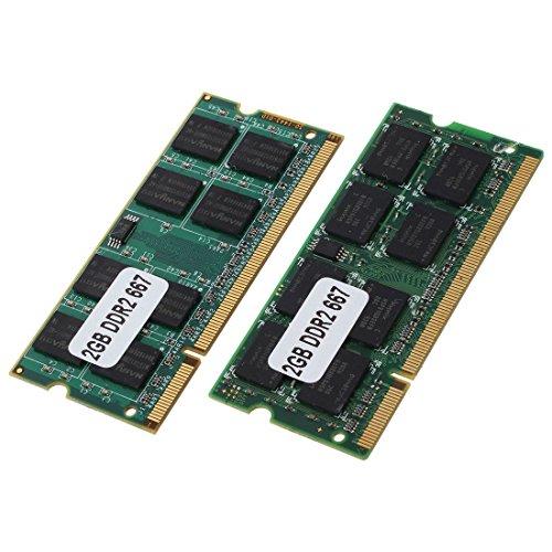 REFURBISHHOUSE 2X 2GB DDR2 PC2-5300 SODIMM RAM Memoria 667MHz 200-pines Ordenador portatil