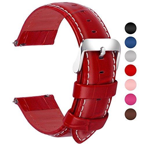 Fullmosa Bambu Piel Correa,7 Colores para Correa/Banda/Pulsera/Strap de Reloj Huawei/Samsung/Recambio/Reemplazo 18mm 20mm 22mm 24mm,Rojo 22mm