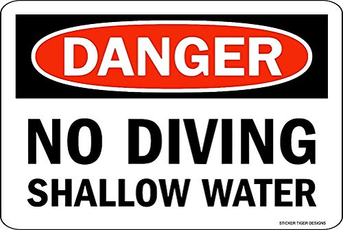 """DKISEE Metall-Blechschild aus Aluminium mit Aufschrift """"Danger No Diving Shallow Water Pool"""", 30,5 x 45,7 cm"""
