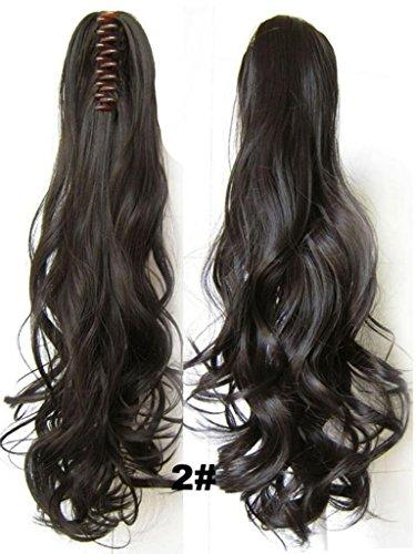 Queen Wig long vague Clip in/on queue de cheval ondulee extension de cheveux postiche griffe - #2 Darkest Brown