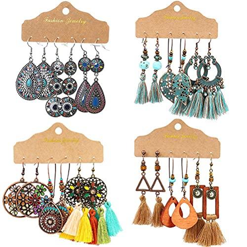 Musun Pendientes bohemios, 12 pares de pendientes colgantes vintage, bohemios, con forma de pétalos en forma de corazón y perlas