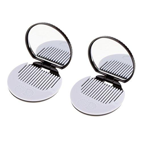 Homyl 2pcs Miroir de Poche Rond Motif Biscuit avec Peigne Outil de Maquillage Cosmétique - Café