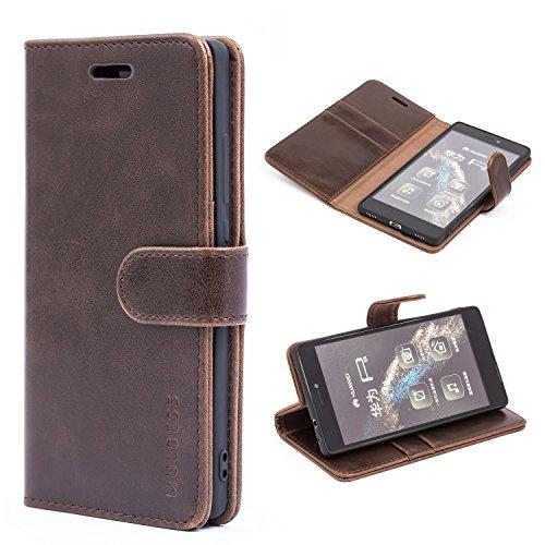 Mulbess Handyhülle für Huawei P8 Hülle Leder, Huawei P8 Handytasche, Vintage Flip Schutzhülle für Huawei P8 Hülle, Kaffee Braun