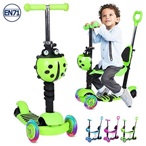 Birtech Kinderroller Kinderscooter Dreirad Scooter 5 in 1 Kinderscooter mit Höhenverstellbarer Lenker, Abnehmbarem Sitz, LED Rädern für Klein Kinder,Grün