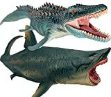 Mosasaurus and Megalodon Water Dinosaur Great Shark Toys Set Jurassic Dinosaur with Sea Monster for Birthday Gifts, Cake Topper, Toys Collection, Swimming and Bath Toy to Kids 3 Years Old and Up
