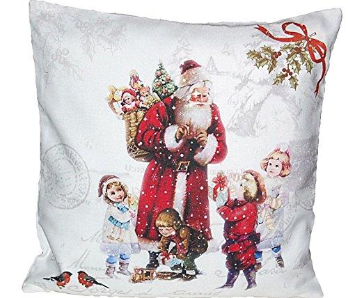 Hossner Kissenhülle 40x40 cm Sofakissen Santa Kinder Weihnachten Kissenbezug Nostalgie