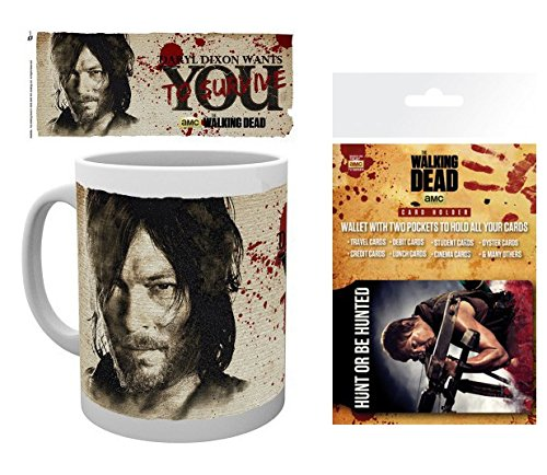 1art1 The Walking Dead, Daryl Dixon Wants You Foto-Tasse Kaffeetasse (9x8 cm) Inklusive 1 The Walking Dead EC-Kartenhülle Kartenetui Für Fans Und Sammler (10x7 cm)