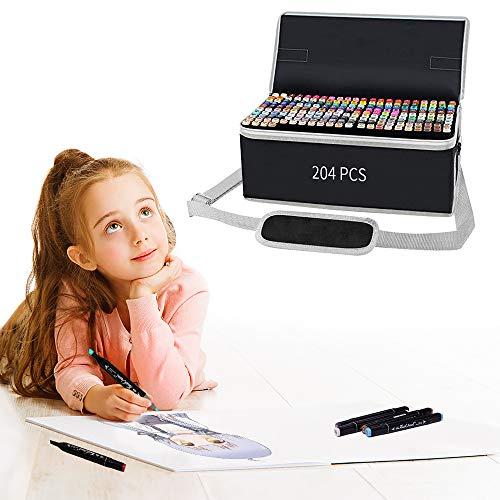 204 Farben Permanent Marker Set Filzstifte Graffiti Stift Permanent Marker,Twin Tip Textmarker mit Tragetasche für Skizzieren Malerei Coloring Hervorhebungen und Unterstreichungen
