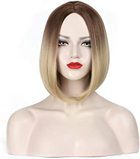 Short Bonde Bob Wig Side Part Heat Resistant Synthetic Wigs For Women Dark Root Ombre Blonde Short Hand Tied Replacement Full Wig