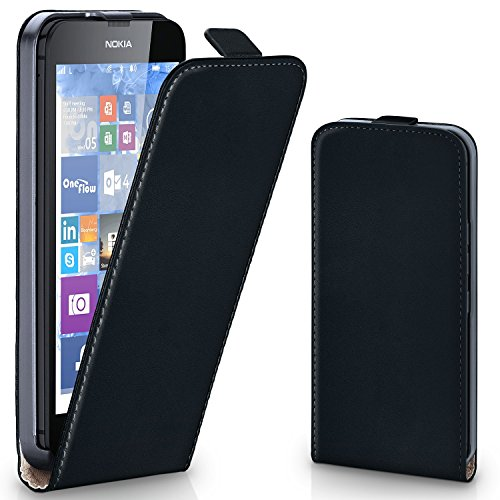 MoEx® Flipcase kompatibel mit Nokia Lumia 630 | Klapphülle Handytasche mit Rundum Schutz - Handy Hülle Klappbar Flip Case, Schwarz