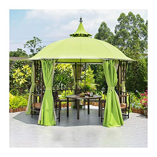 YYDD Villa Garden Furniture, Outdoor Gazebo Lawn Tent, Outdoor Gazebos for Patios with Desk, Patio Pavilion, Outdoor Party Pergola with Netting and Curtains, Family Gathering