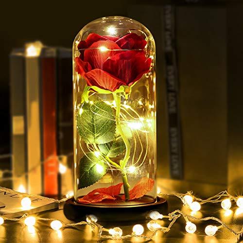 Kapmore Rosa Bella y Bestia Rosa Eterna y luz LED de Regalo para San V