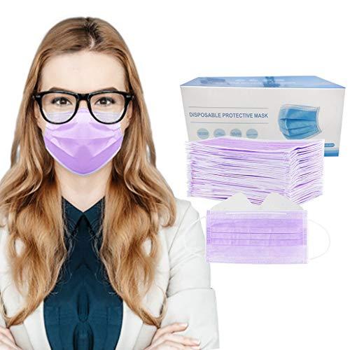 Wzhong - Mascherina per il viso usa e getta, unisex, anti-appannamento, 3 strati di puro cotone, molto adatta per portatori di occhiali (50 pezzi, viola)