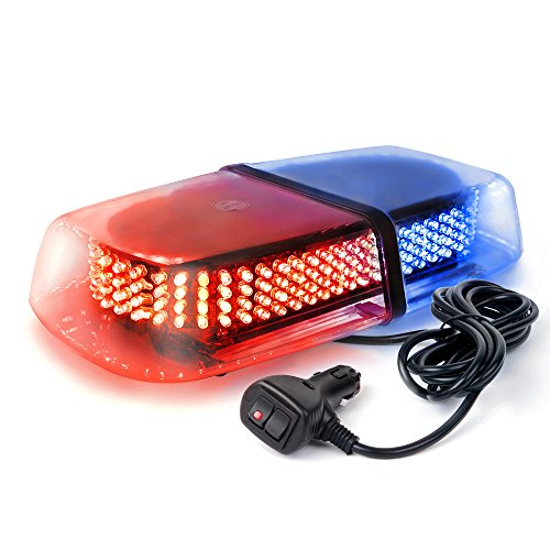 Xprite 240 LED Red & Blue Roof Top LED Emergency Strobe Lights Mini Bar for Cars Trucks Snow Plow Vehicles Warning Caution Lights w/Magnetic Base