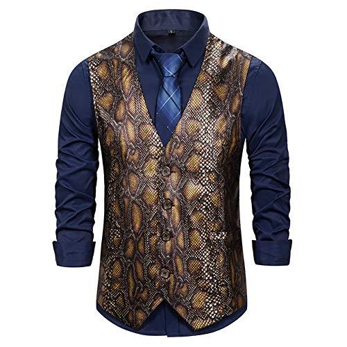 Story of life Glitter herenvest pailletten python print pak vest klassieke slim fit Tuxedo formele bruiloft gilet