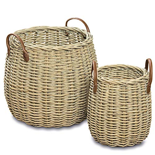 WHW Whole House Worlds Cape Cod Wicker Chubby Belly Baskets, Set of 2, Faux Leather Side Handles, Storage and Display, Distressed White Willow, 17 3/4 and 11 Inches Tall