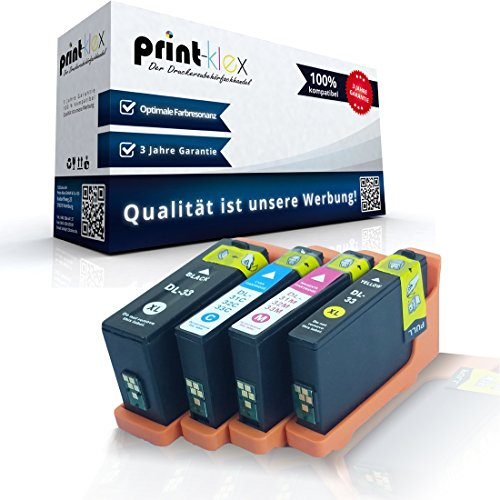 4x kompatible Tintenpatronen für Dell V525 w V725 w XL Dell 31-34 R4YG3 55K2V J56GD PT22F BK C M Y - Office Quantum Serie