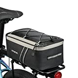 JXFUKAL Rear Bike Rack Bag with Rain Cover, 7L Waterproof Bicycle Ebike Saddle Bag Cycling Pannier Trunk Carrier with Reflector & Adjustable Cord for Commuter Travel Outdoor