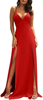 Women's Sexy Sleeveless Spaghetti Strap Backless Split Cocktail Long Dress
