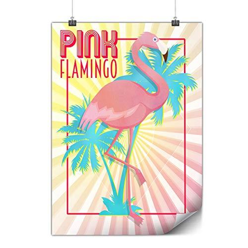 Wellcoda Rose Flamant Île Affiche Tropical A2 (60cm x 42cm) Affiche Idéal pour l'encadrement, Facile à accrocher, Papier épais Art de
