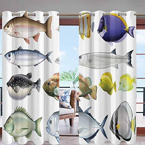 Outdoor Blackout Curtains Grommet Top Type of Pacific Fish W96 x L96 Thermal Insulated Drapery for Front Porch Pergola Cabana Covered Patio