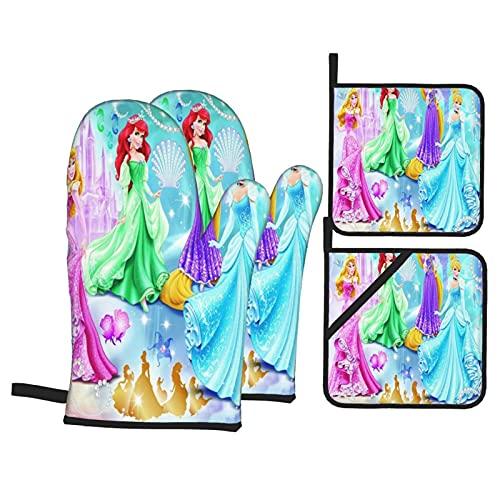Cute Phones Juego de guantes de silicona para horno de princesa, de Disney, para cocina, antideslizantes, resistentes al calor, con forro interior suave para cocinar a la parrilla, barbacoa