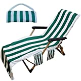 Stripe Lounge Chair Beach Towel Cover Chaise Lounge Chair Cover Towel with Pockets No Sliding Beach Towel for Sun Lounger Hotel Vacation Sunbathing, Green