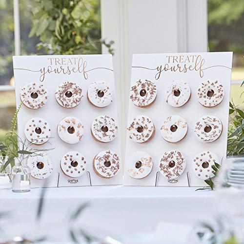 2 Stück XXL Donut-Wand / Donut-Ständer weiß & rosé-gold zum Aufstellen für 18 Donut - Back-Zubehör Präsentation Gebäck Backen Kuchen-Buffet Candy-Bar Zubehör Hochzeits-Deko Zubehör & Accessoires