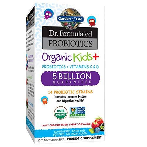 Garden of Life Microbiome Formula Organic Kids+ - 30 Kautabletten I Kinder ab 4 Jahre I Probiotika I 14 probiotische Stämme I Vitamin C & D I Vegetarisch