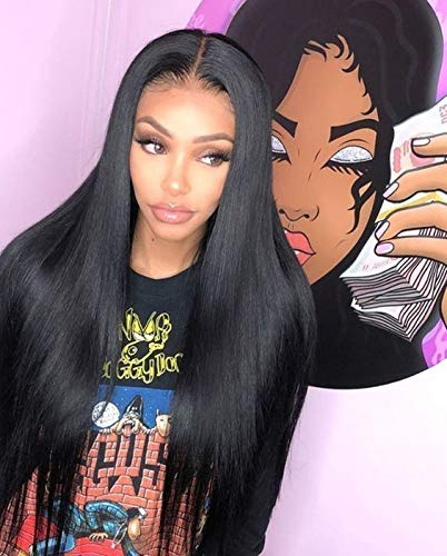 Elesty 13x6 Synthetic Lace Front Wig Black Long Straight Deep Part Lace Front Wigs for Women Natural Hairline Lace Wig